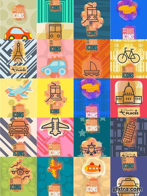 Travel Illustrations Pack 100xEPS