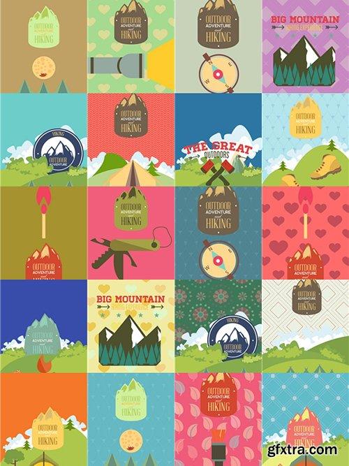 Hiking & campingIllustrations Pack 100xEPS