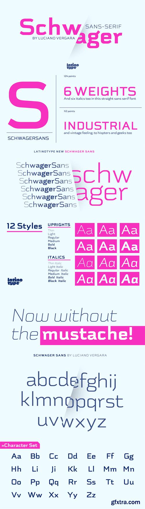 Schwager Sans Font Family - 12 Fonts for $149