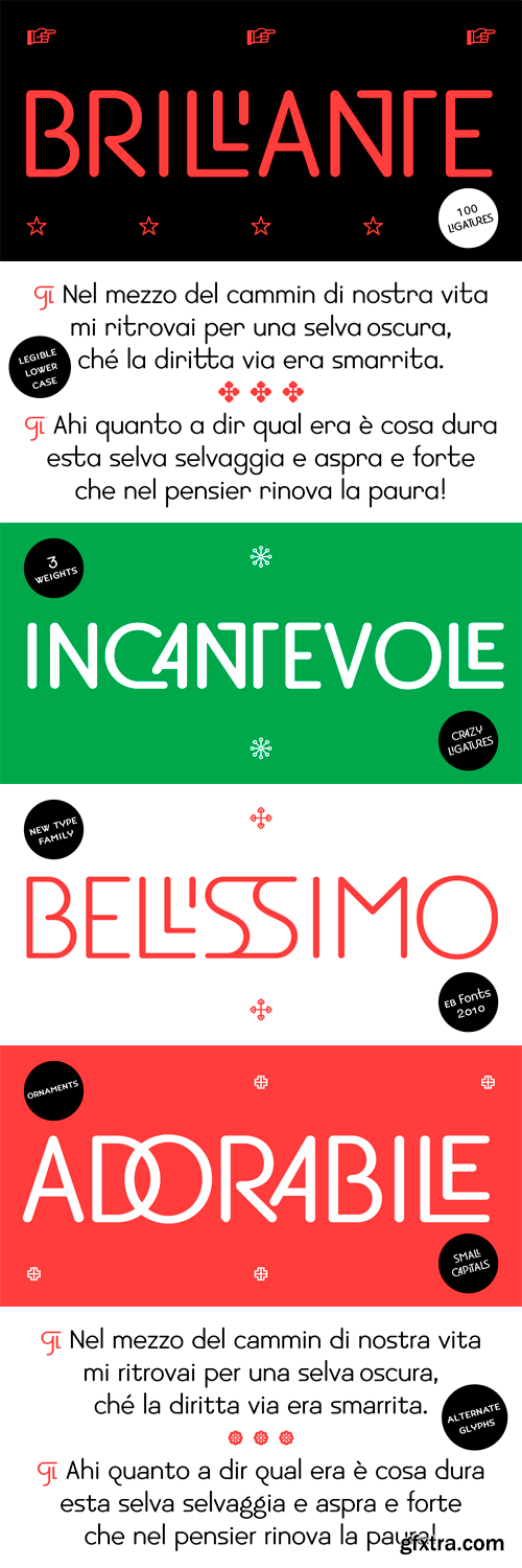 EB Bellissimo Display Font Family - 3 Fonts for $30
