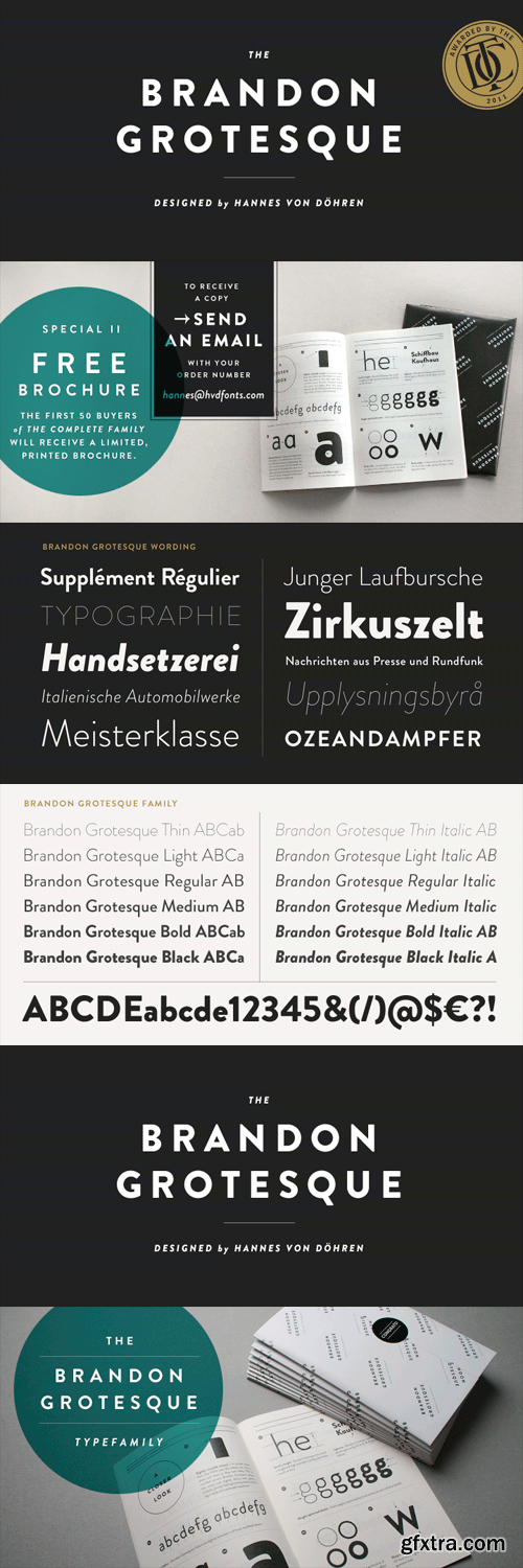 Brandon Grotesque Font Family - 12 Fonts for $249