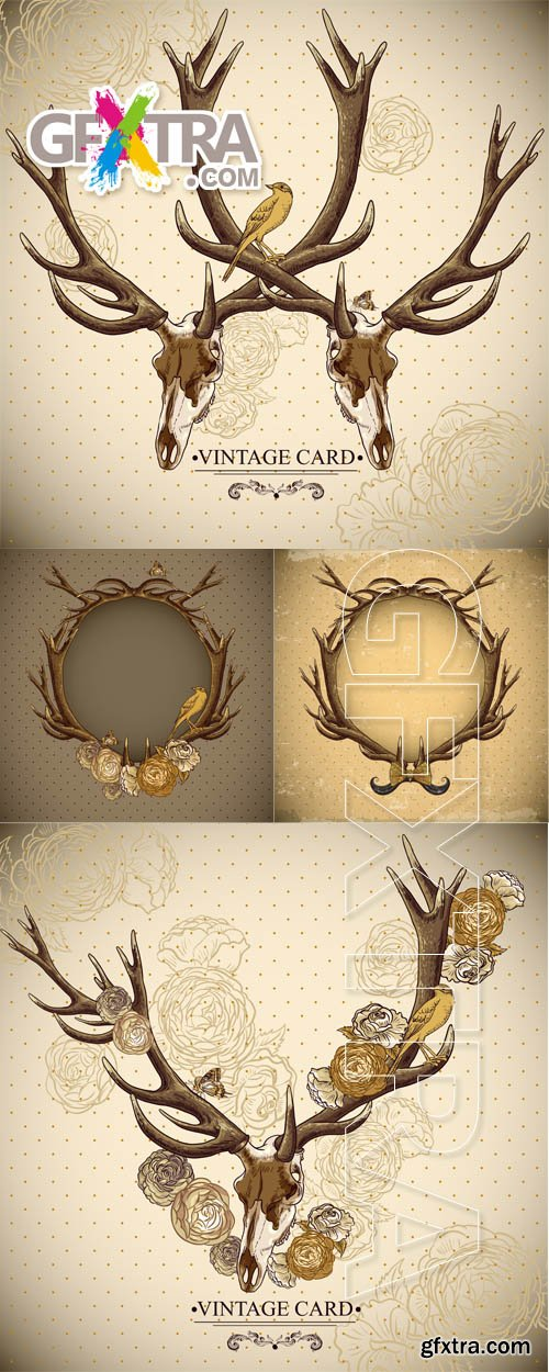 Vintage card with deer antlers