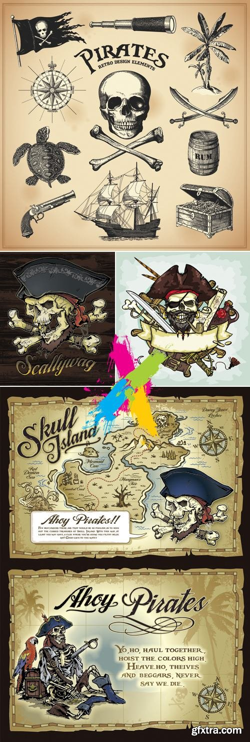 Pirates & Vintage Adventure Maps Vector