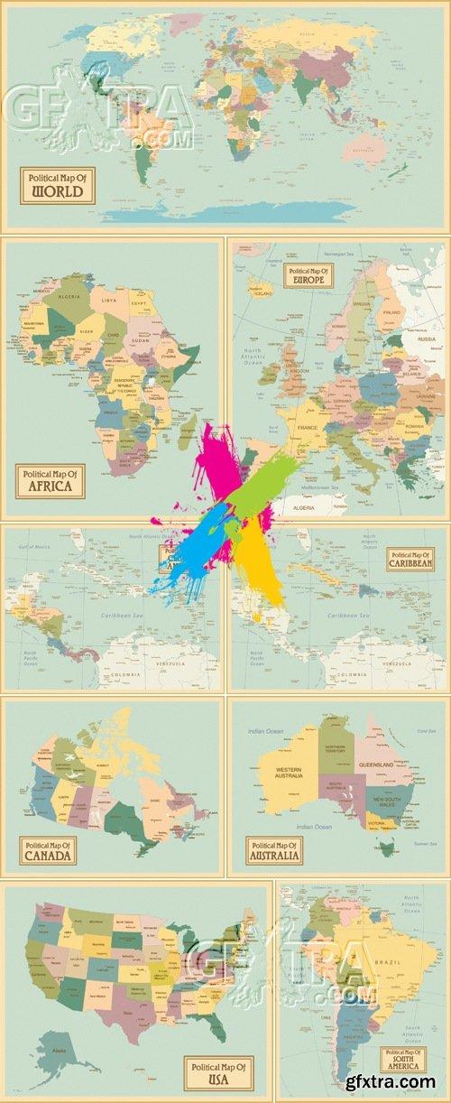 Political World Maps Vector