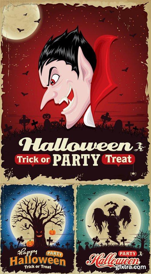 Vintage Halloween poster set design