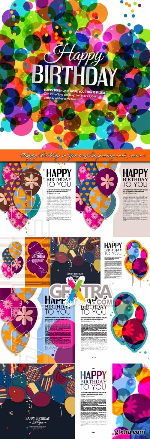 Happy Birthday to You template greeting card vector 6