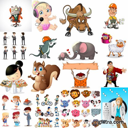 Mix Cartoon Illustration #19 - 25 Vector