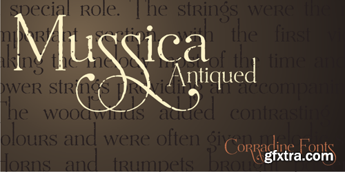 Mussica Antiqued Font Family - 3 Fonts for $75