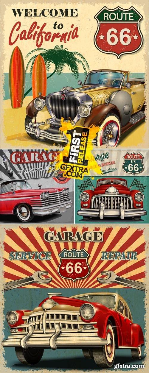 Retro Vintage Car Posters Vector