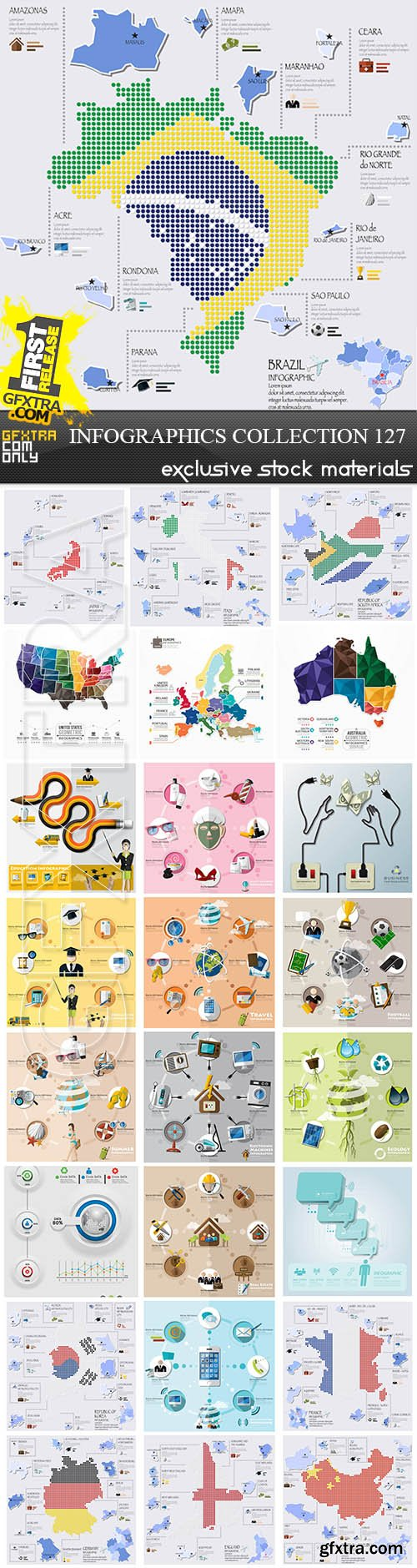 Collection of infographics vol.127, 25xEPS