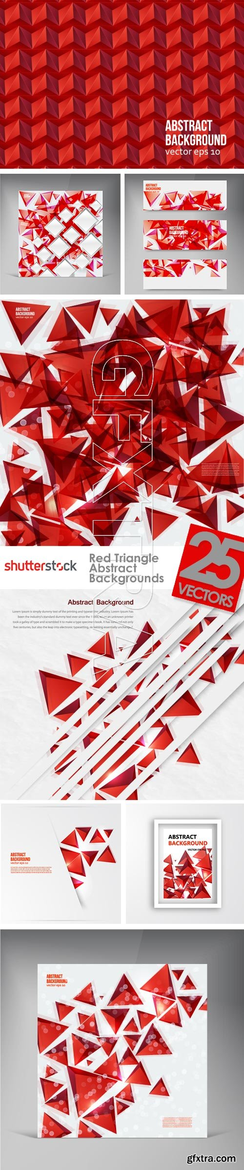 Red Triangle Abstract Backgrounds 25xEPS