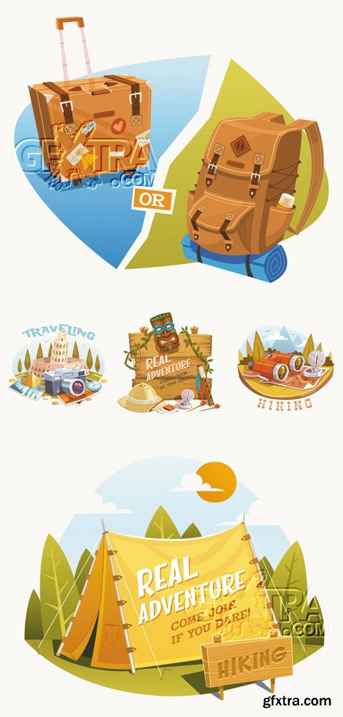 Adventures, Hiking & Traveling Vector