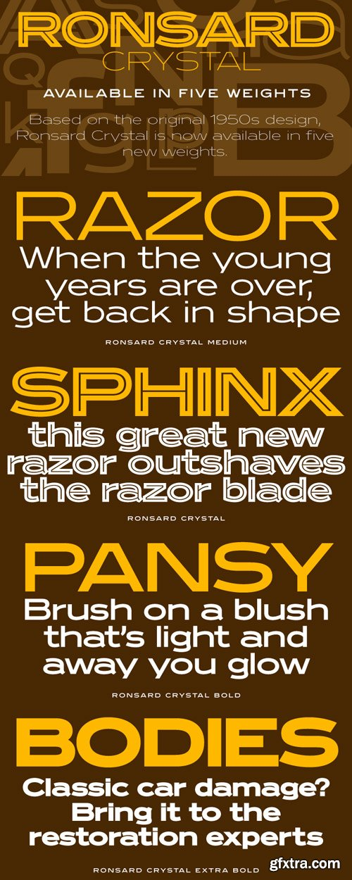 Ronsard Crystal Font Family - 5 Fonts for $250