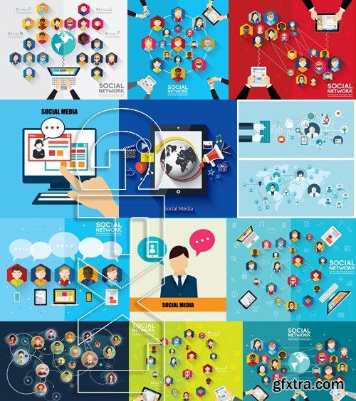 Stock Vectors - Social Network and Media 2, 25xEPS