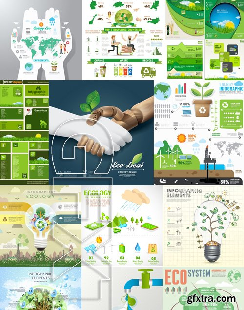 Stock Vectors - Ecology infographic template 4, 25xEPS