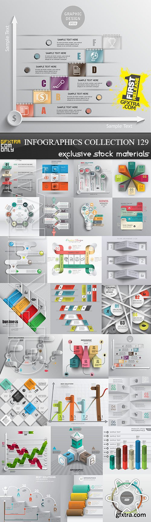 Collection of infographics vol.129, 25xEPS