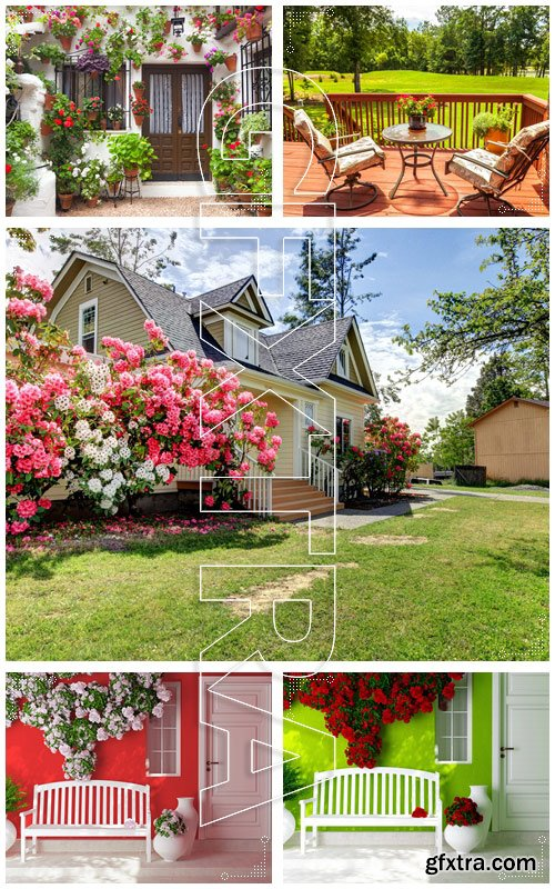 Exterior of a house with flowers decoration - Stock photo