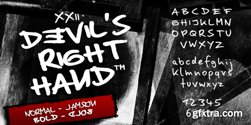 XXII Devils Right Hand Font Family - 4 Fonts for $42