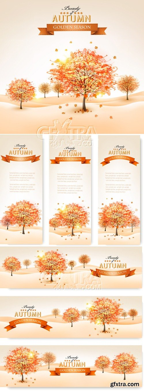 Autumn Trees Banners Vector