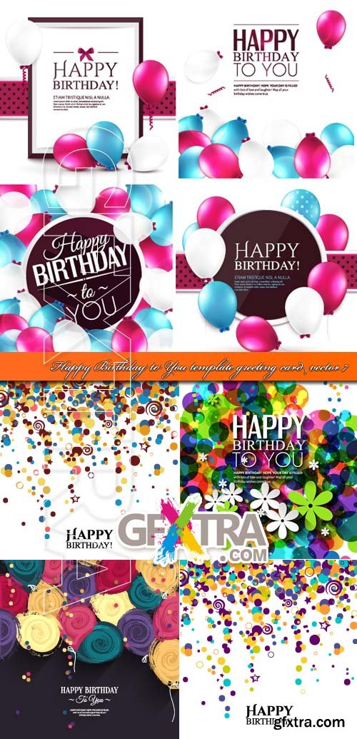 Happy Birthday to You template greeting card vector 7