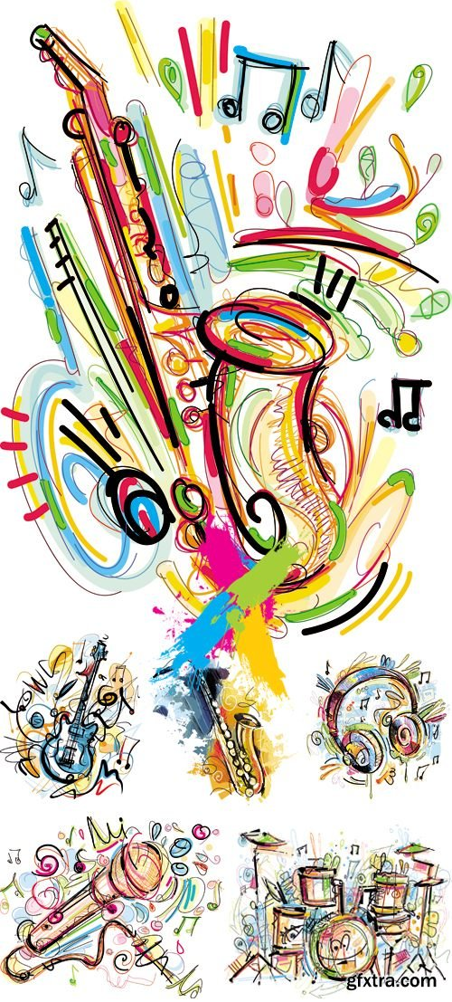 Sketch Style Musical Instruments Vector