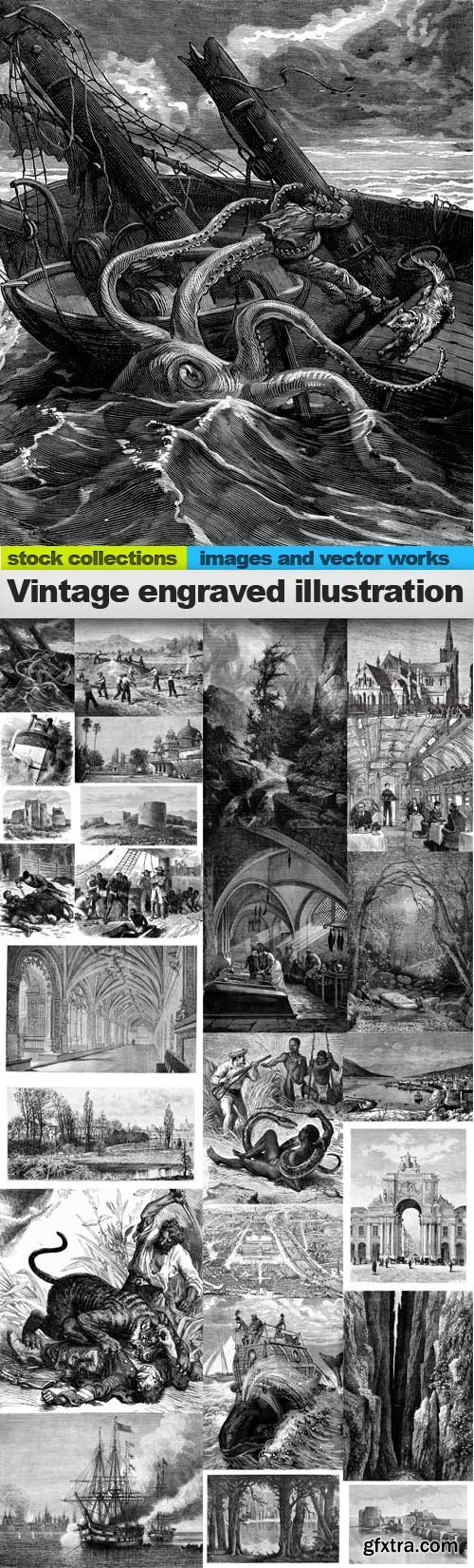 Vintage engraved illustration images,25 x UHQ JPEG