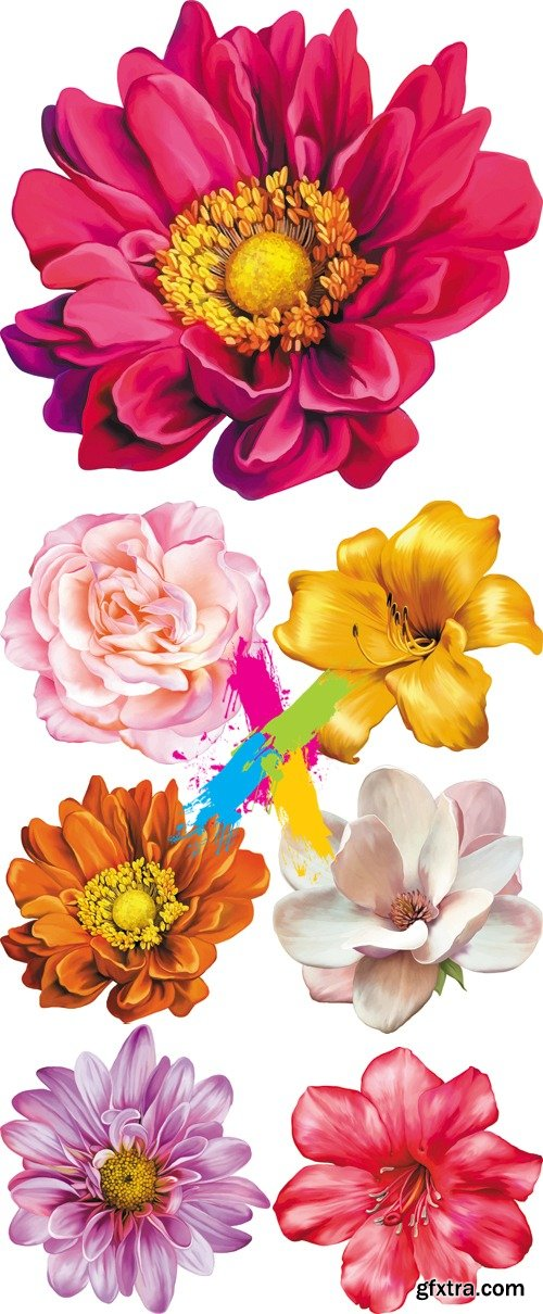 Realistic Color Flowers Vector