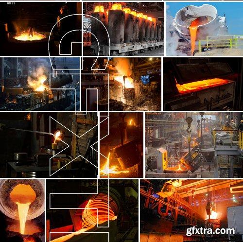Stock Photos - Liquid Molten Steel Industry, 24xJPG