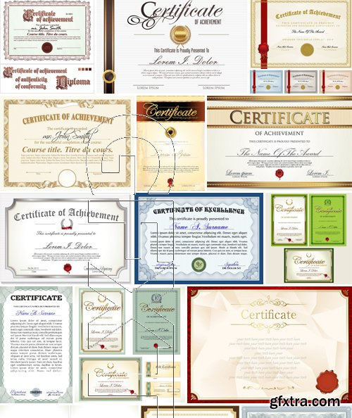 Stock Vectors - Certificate Template 5, 25xEPS