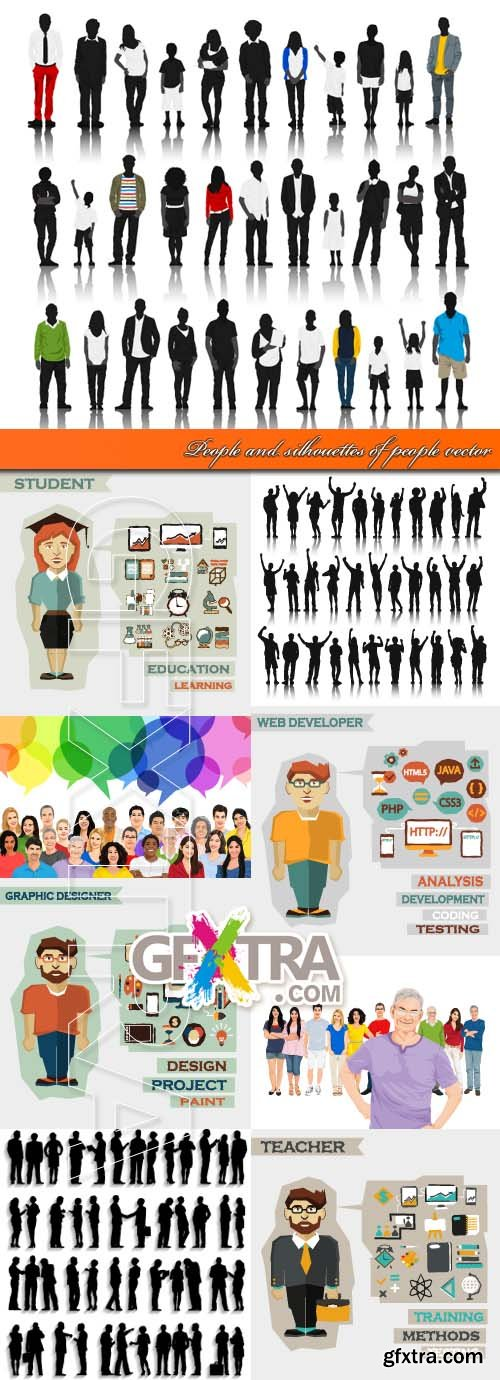 People and silhouettes of people vector