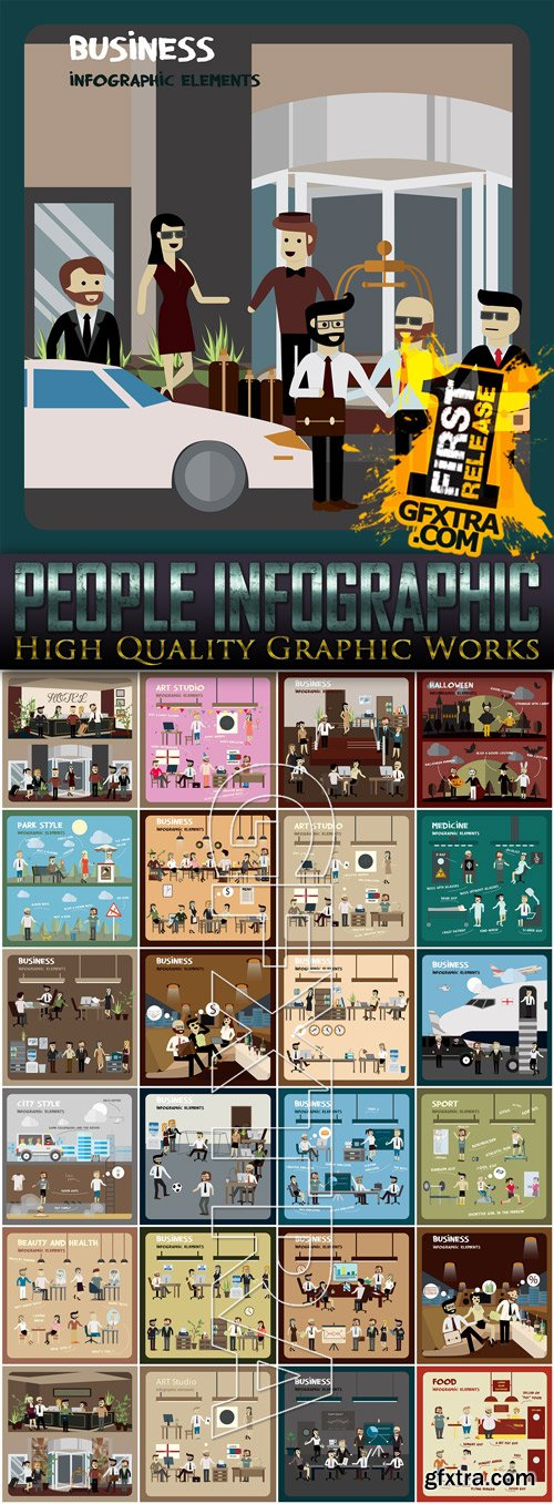 People Infographic Elements - 25 Vector