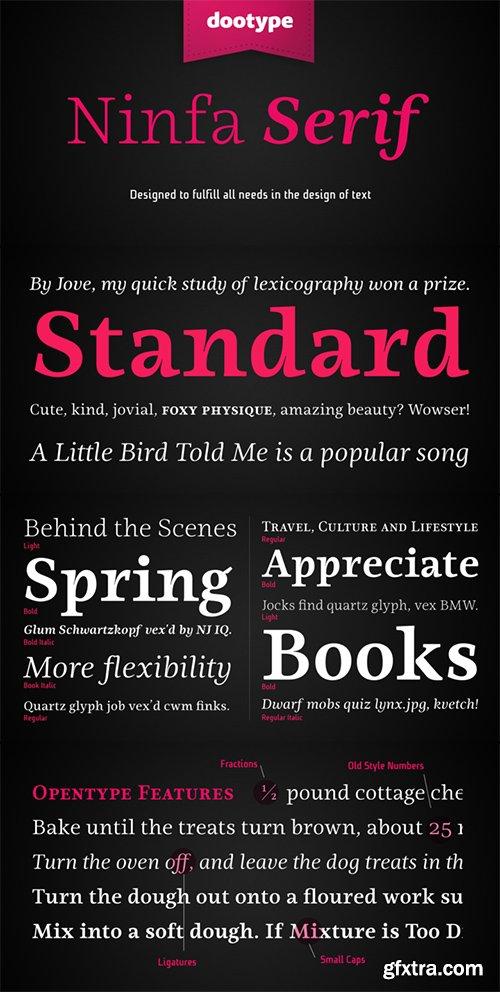 Ninfa Serif Font Family - 10 Fonts $220