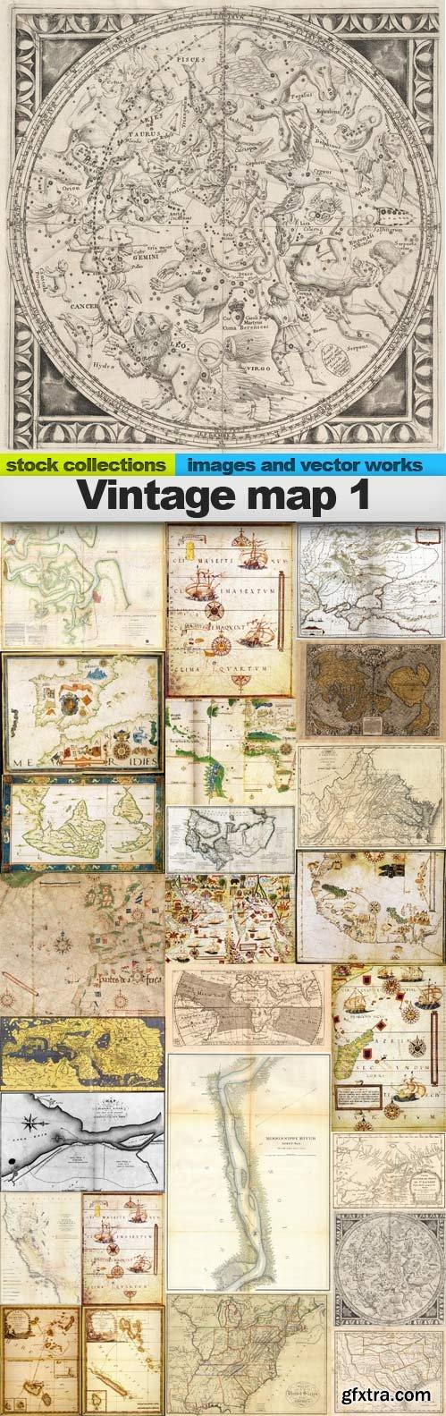 Vintage map 1,25 x UHQ JPEG