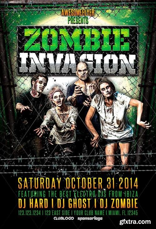 Zombie Invasion Halloween Party Flyer Template