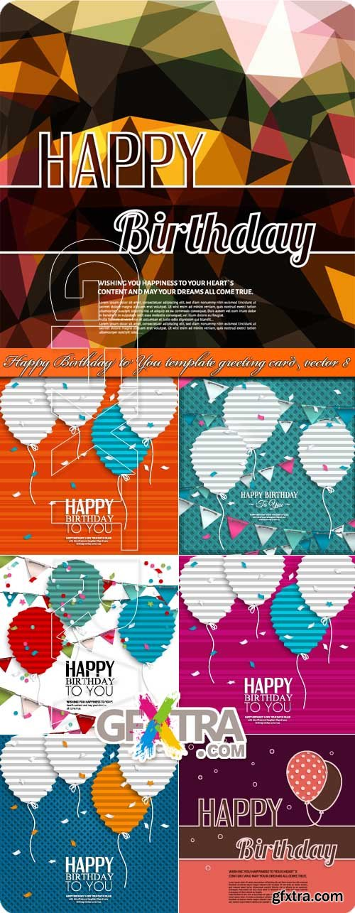 Happy Birthday to You template greeting card vector 8