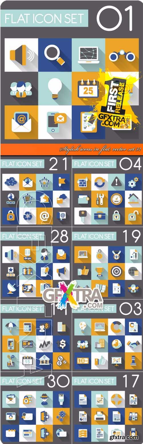 Stylish icons in flat vector set 32