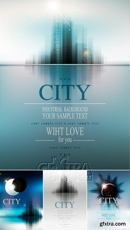 Futuristic City Backgrounds Vector