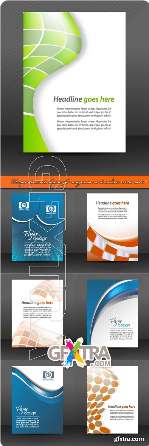 Design business layout for magazine or brochure vector set 27