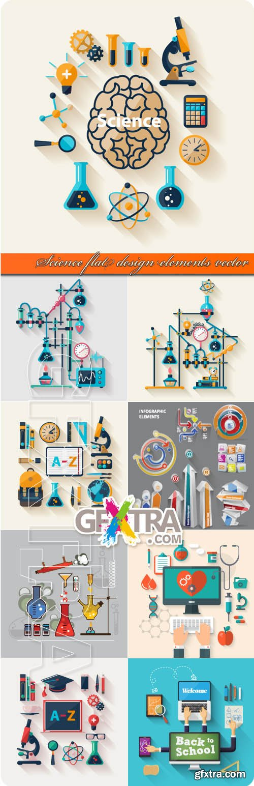 Science flat design elements vector