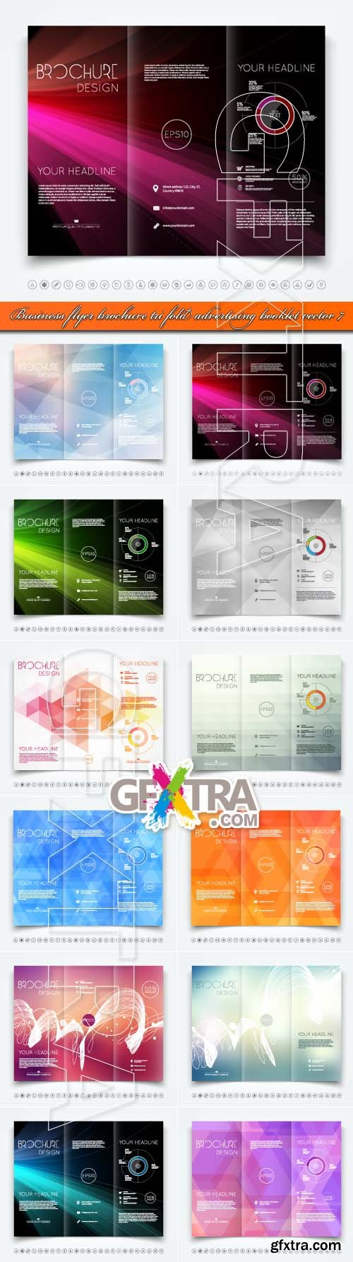 Business flyer brochure tri fold advertising booklet vector 7