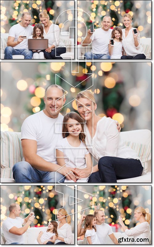 Happy family in the New Year's holidays - Stock photo