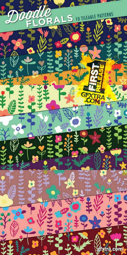 Floral Doodles Patterns - Creativemarket 72488