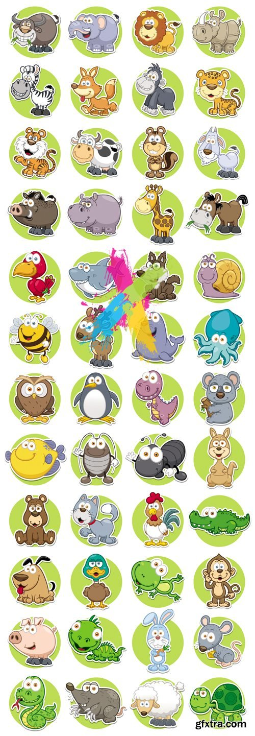 Cute Animals Icons Vector Collection