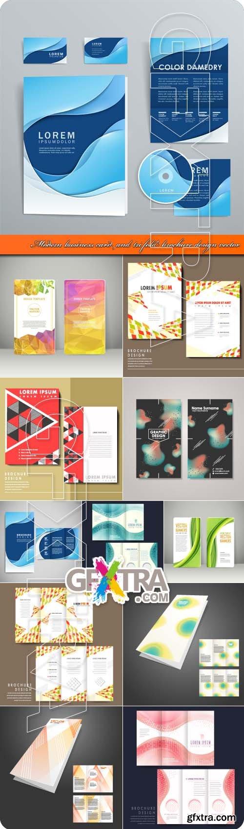 Modern business card and tri fold brochure design vector