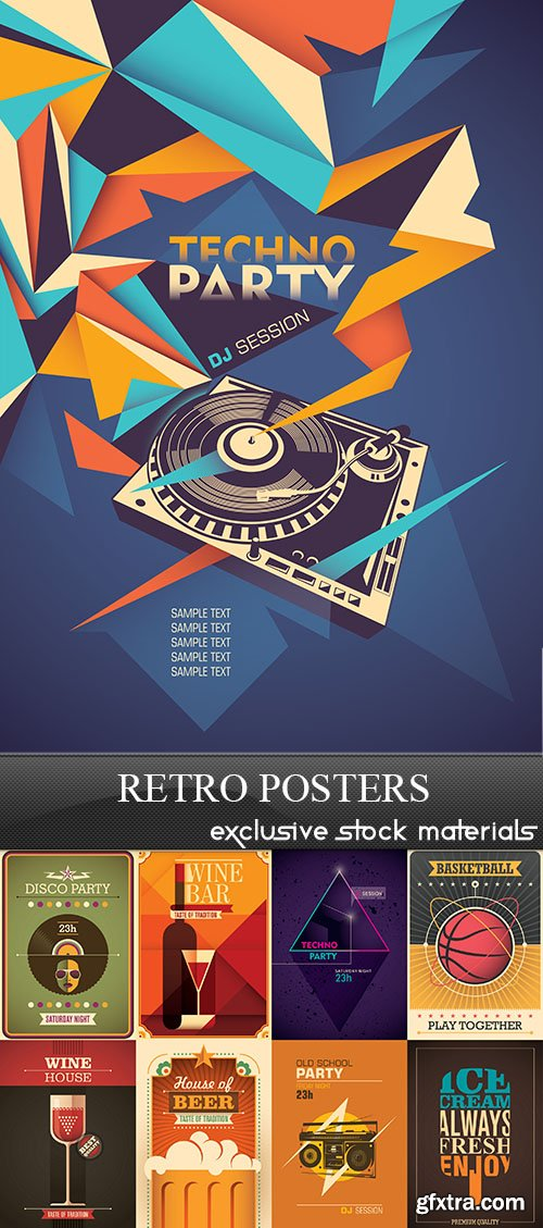 Retro Posters Collection, 25xEPS