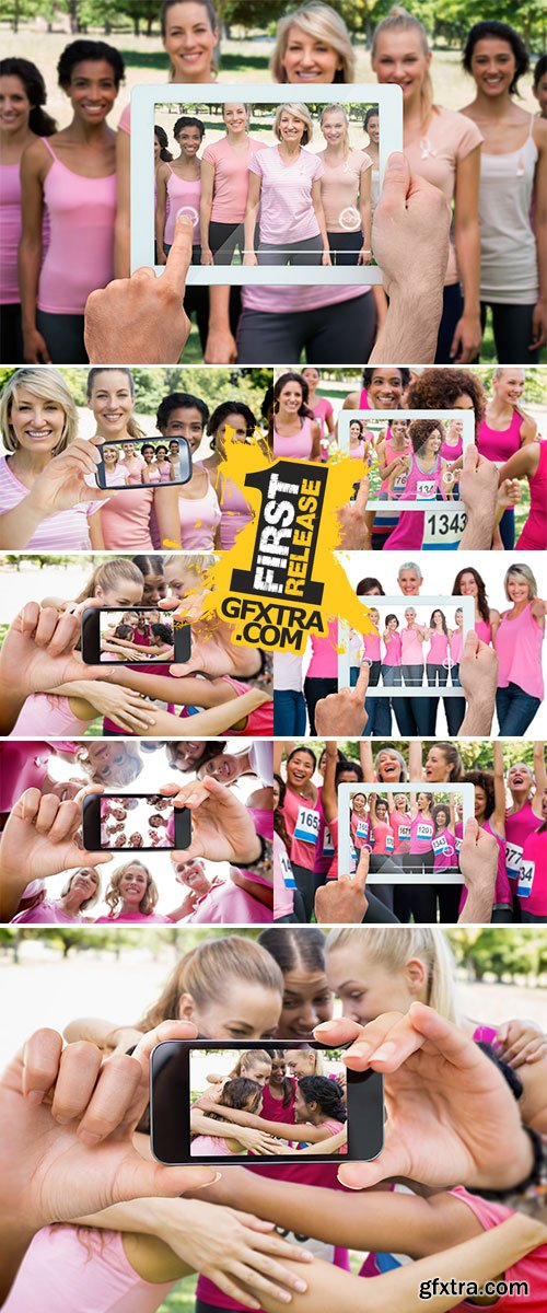 Stock Photo Composite image of hand holding tablet pc showing photograph of breast cancer activists