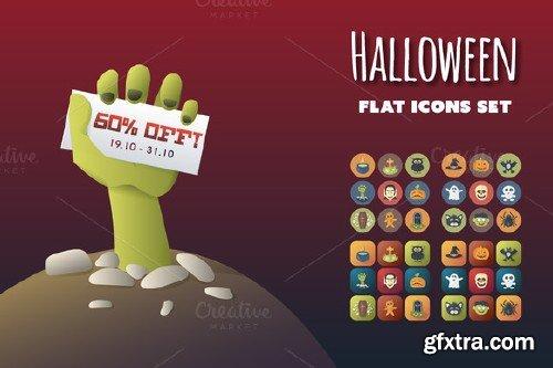 CreativeMarket - Halloween Flat Icons Set 95987