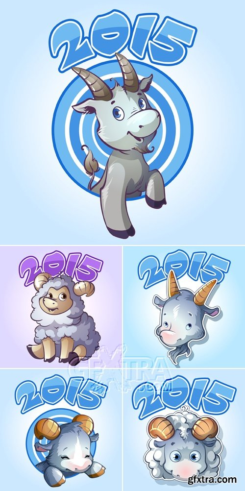 Sheep & Goat - Symbol Of 2015 New Year Vector