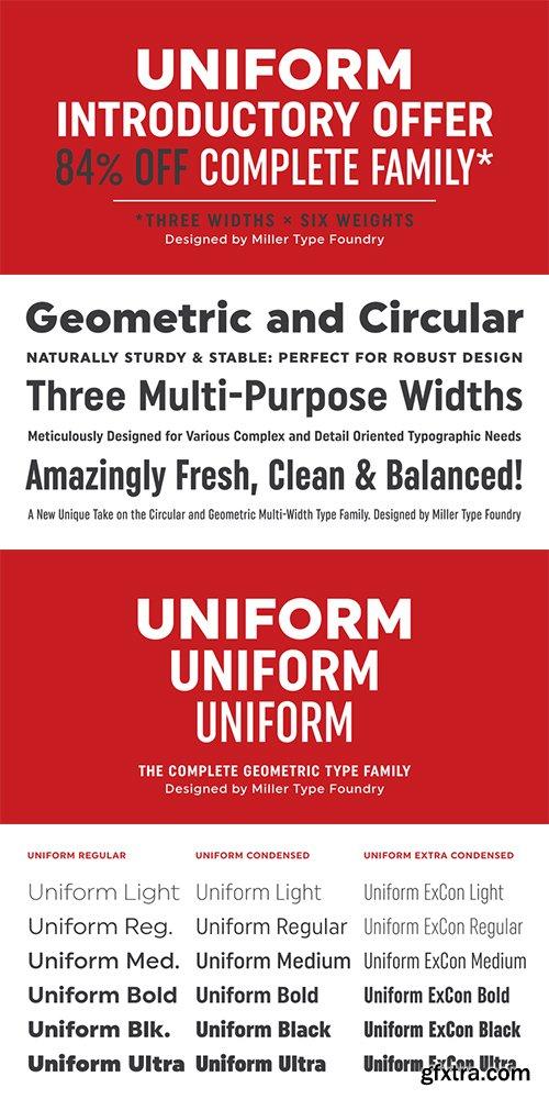 Uniform Font Family - 18 Fonts 468$