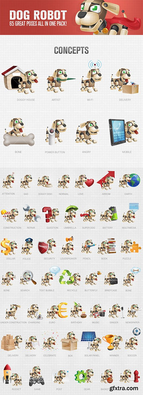 Dog Robot Cartoon Character Set